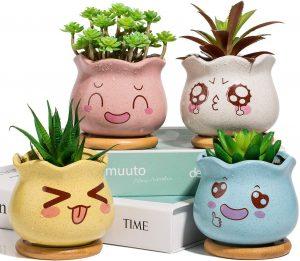 Pots de Fleur Yangbaga en Céramique avec Plateau en Bambou